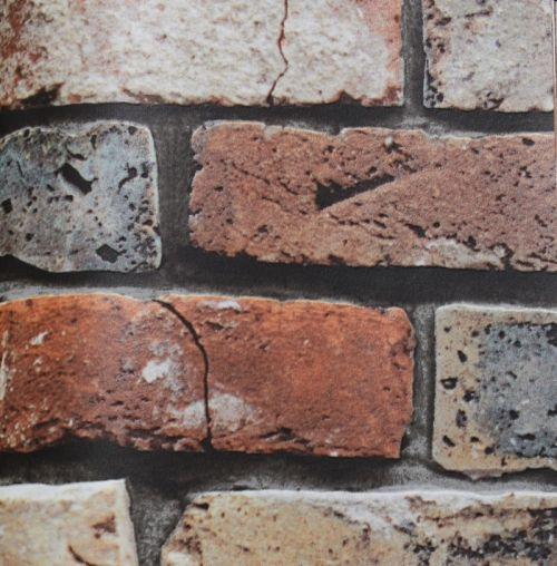 Brick Multi-color Embossed vinyl faux stone wallpaper   Astek Wallcovering: Woods, Stones, Etc IX by Julian Scott Designs