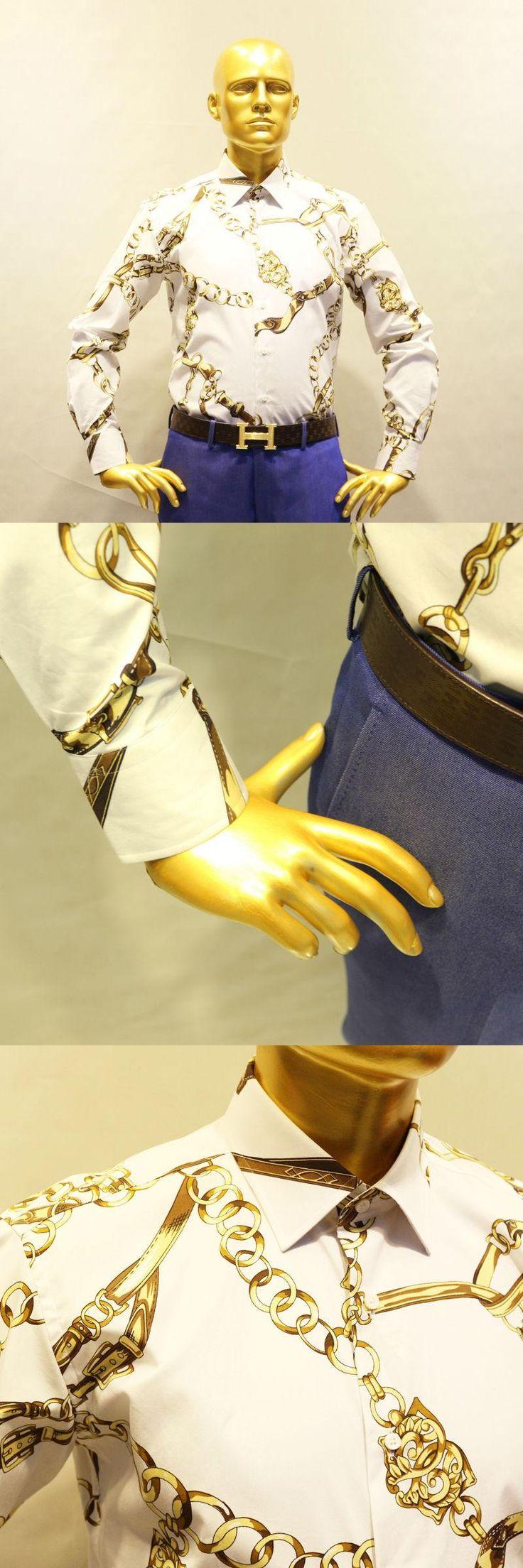 white with printed golden chain flower cotton dress shirt , man's custom tailor made casual fashion bespoke shirt 2018 VA