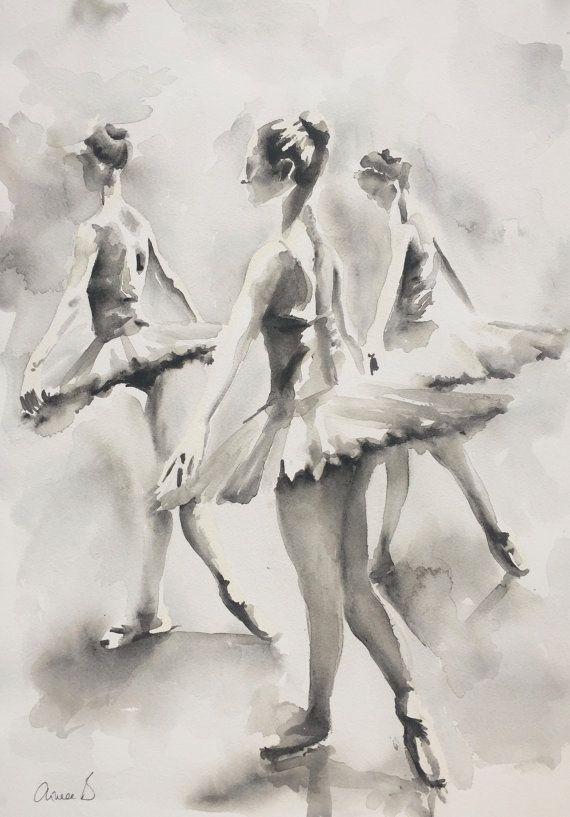 Tres bailarinas ORIGINAL ACUARELA PINTURA 14 x por AimeeDelValleArt