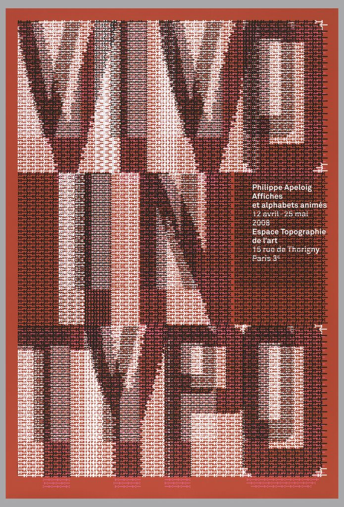 """Poster featuring the text """"VIVO IN TYPO"""" composed of red, black and white computer-generated punctuation marks. Additional text with details of exhibition printed in white at the right hand side."""