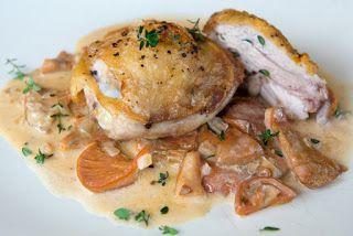 Pan-fried Chicken with Saffron Milk Cap Ragout