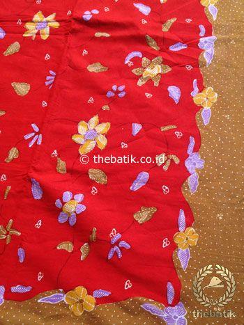Bahan Kain Batik Tulis Floral Kuning Merah Cantik | #Indonesia Traditional #Batik Tulis #Design. Hand-dyed and HandDrawn Process http://thebatik.co.id/kain-batik-bahan/batik-tulis/