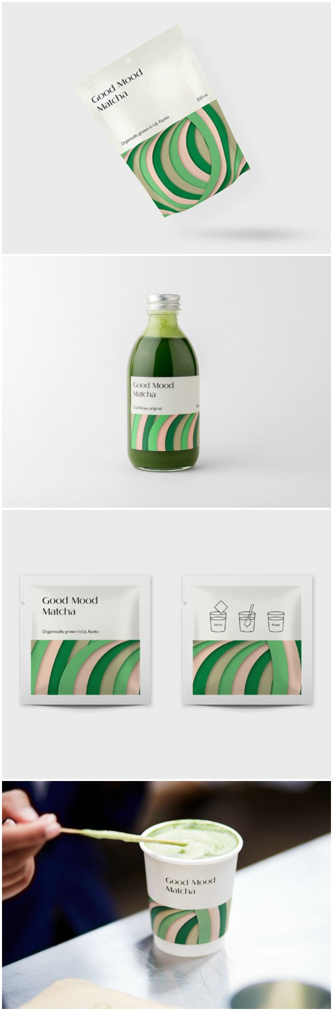 good mood matcha from kyoto to the london market world brand design drinks packaging design branding design packaging design inspiration