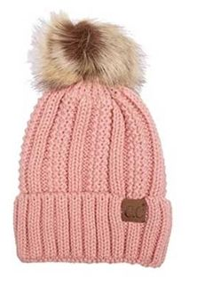 CC Beanie Fleece Lined Cable Knit Beanie with Pompom in Indie Pink  YJ-820-POM-INDIEPINK 03742cf45f90