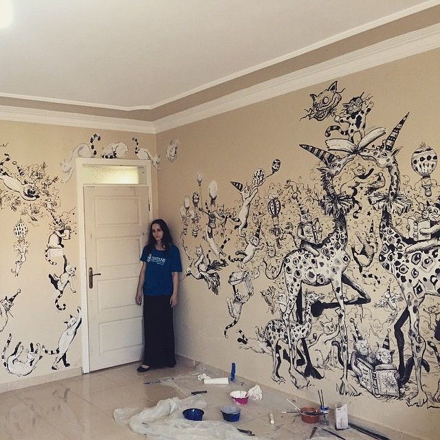 For #wcw, here is my BFF Molly Crabapple, who made that. At the Jeel School for Syrian refugees in Reyhanli, Turkey.  #Repost @mollycrabapple・・・Some of the Jeel school library after two days #zeitouna