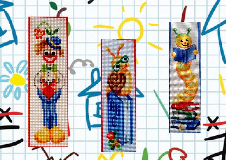 Made by Marian. Bookmarks reading clown, snail and worm embroidered on plastic canvas. A 'Vervaco' cross stitch Bookmark kit.