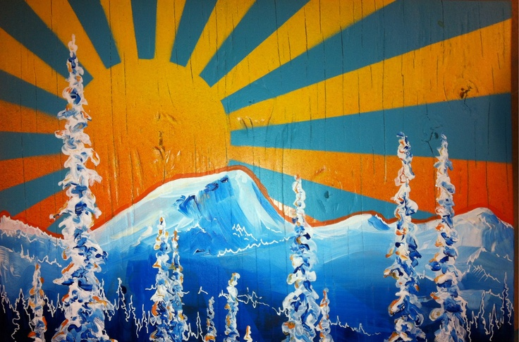 Old Glory, red mountain resort.  Rossland.  Painting by Wink.  Skiing.