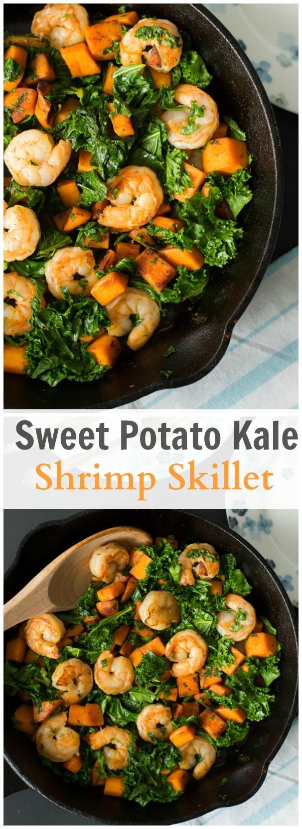 This Sweet Potato, Kale and Shrimp Skillet is Paleo, gluten-free and healthy easy dish without scarfing in flavour! Enjoy! #paleo #grainfree #glutenfree