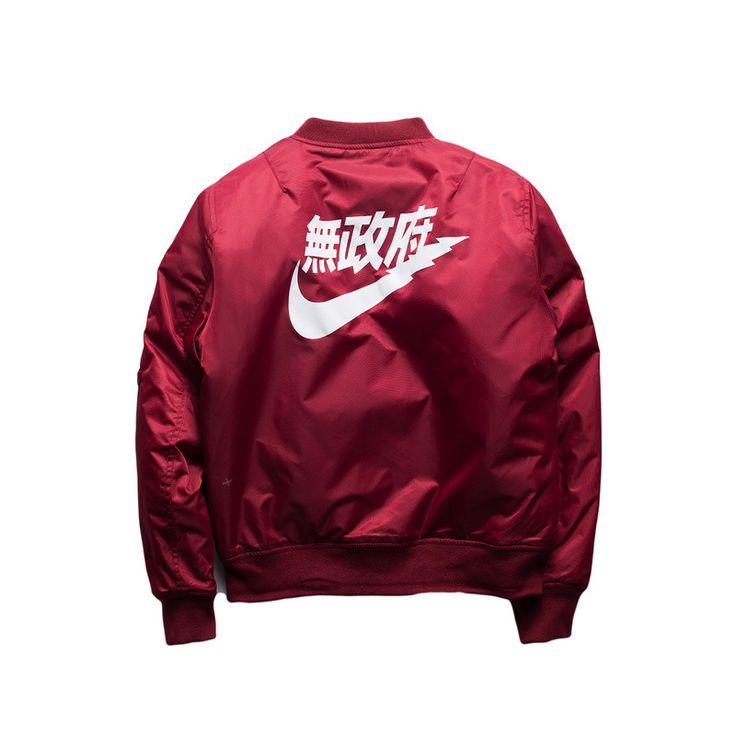 MA-1 Nike Kanji Streetwear Bomber Maroon