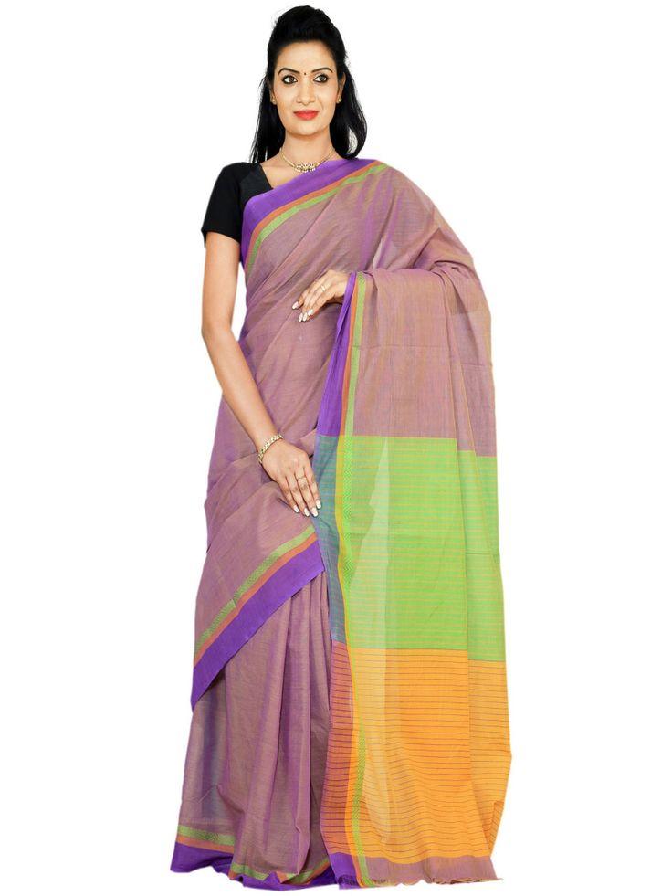 Lavender Mangalgiri Cotton Handloom Plain Sari