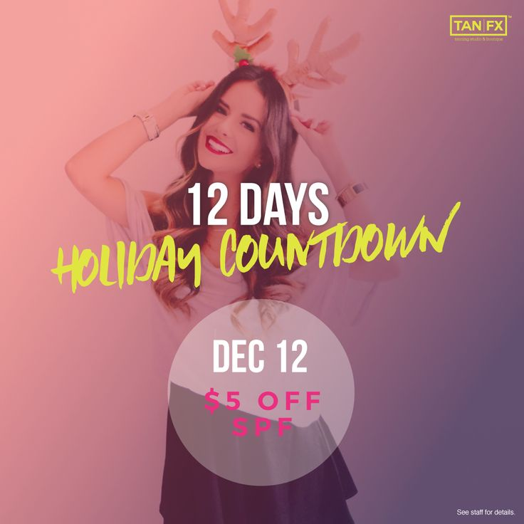 Today's the start of our 12 Days Holiday Countdown! For the next 12 days we'll be offering daily specials to fill your holidays with suntanning fun! Today's #12DaysofDeals $5 Off SPF (scheduled via http://www.tailwindapp.com?utm_source=pinterest&utm_medium=twpin)