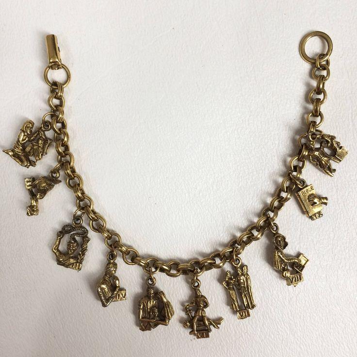 $42.22 Vintage 50s Charm Bracelet. Coro Ten Commandments Charm Bracelet. Religious Jewelry. Roman Catholic Religious Medals. Gold Christian Jewelry by wardrobetheglobe on Etsy