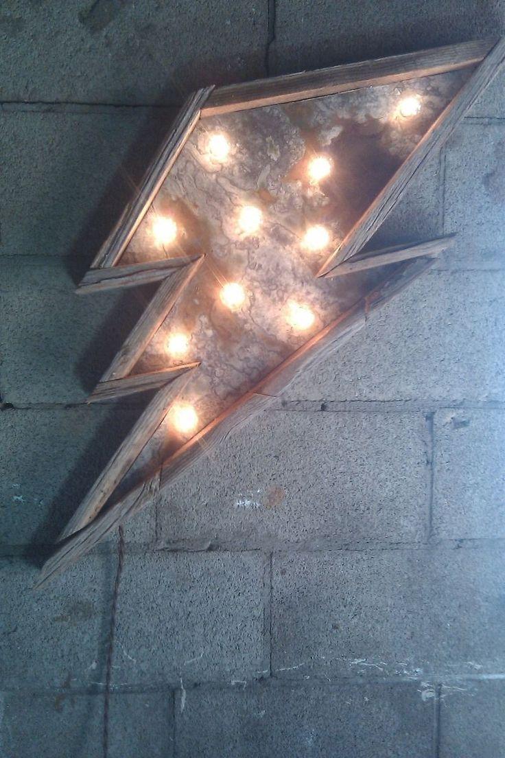 Light Fixture Vintage Inspired Metal Lightning Bolt Barn Wood