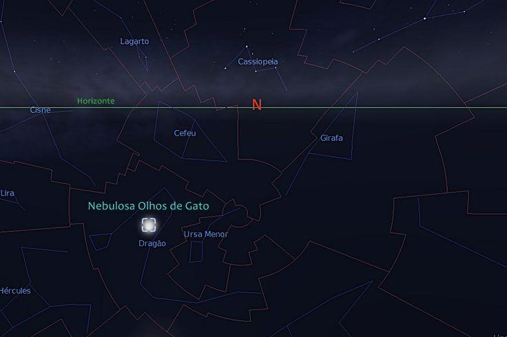 Nebulosa Olhos de Gato (NGC 6543) na Constelação Circumpolar Dragão (Draco) - A constelação está abaixo do horizonte para observadores do hemisfério sul - Projeção realizada em 19/09/2013 para a cidade de São Paulo/Brasil com Stellarium