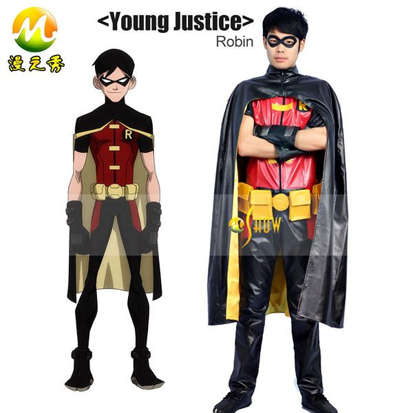kostuum jonge rechtvaardigheid robin cosplay kostuums superheld cos volledige set kerstmis kleding halloween partywear lederen s-3xl(China (Mainland))