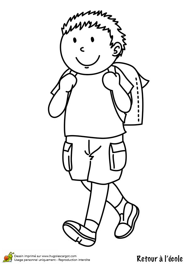 Coloriage d un petit gar on portant son cartable sur le dos rentr e scolaire pinterest sons - Coloriage de garcon ...