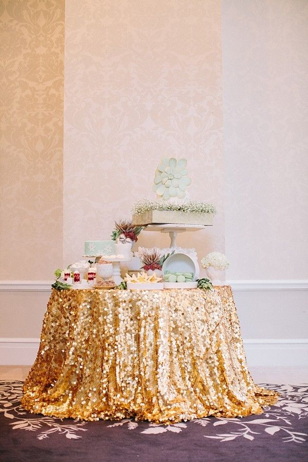 gold sequin tablecloth for cake table or head table