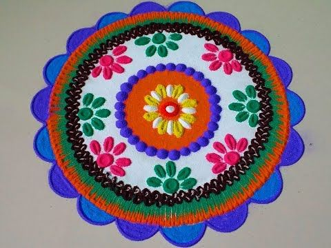 Beautiful dark circle rangoli design.by DEEPIKA PANT - YouTube