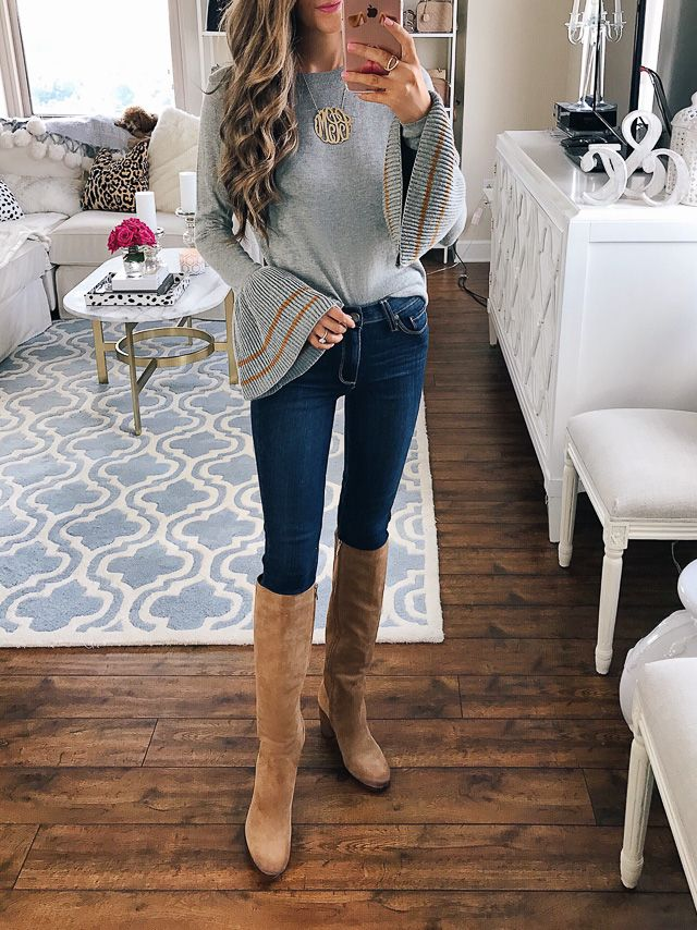bell sleeve top and over-the-knee boots from the Nordstrom Anniversary Sale