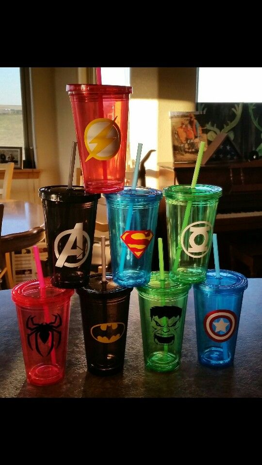 Vinyl superhero stickers on tumblers for party favors