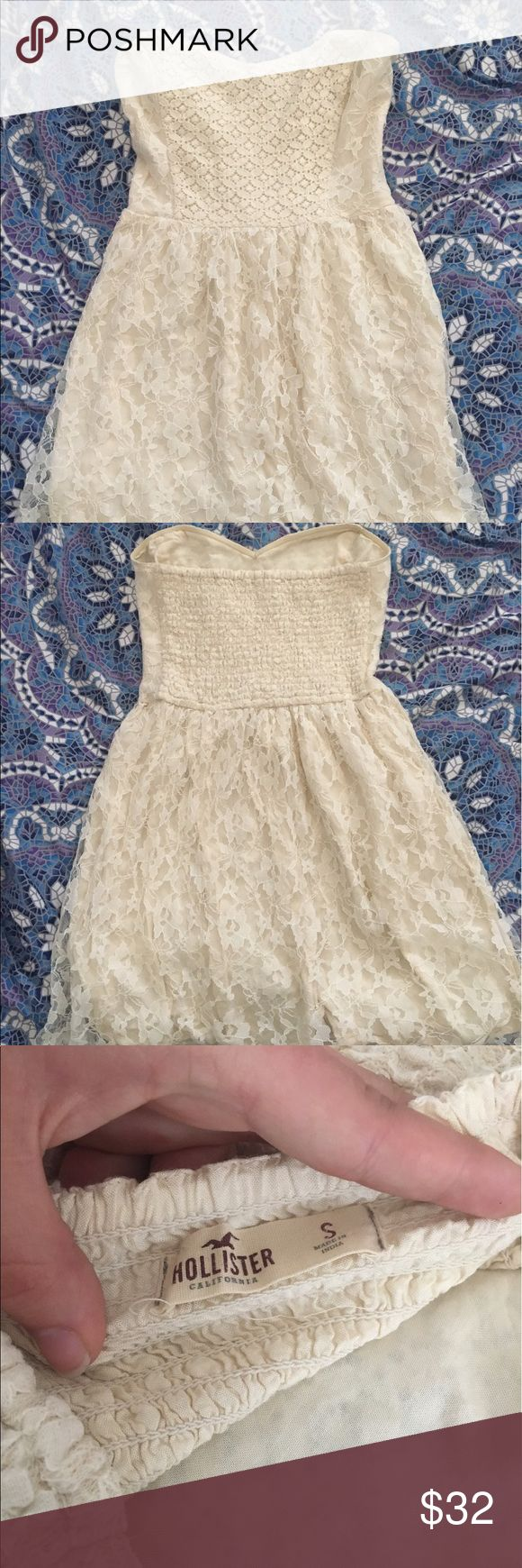 small strapless Hollister cream lace dress cream lace dress size small. no rips or stains, worn a few times. not super short but cuts off mid thigh-knee. open to offers Hollister Dresses Strapless