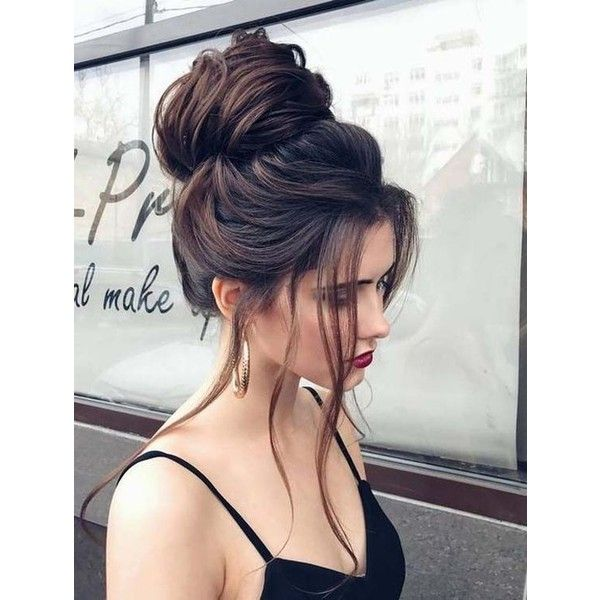 Big Messy Bun Updo ❤ liked on Polyvore featuring hair, people, pictures, backgrounds and models