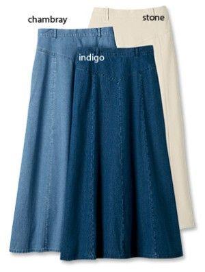 More long denim skirts