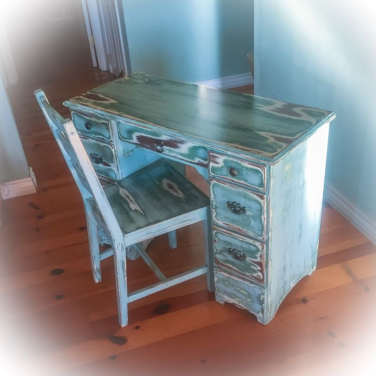 Shabby Chic Desk Blue Farmhouse Antique Desk Vintage