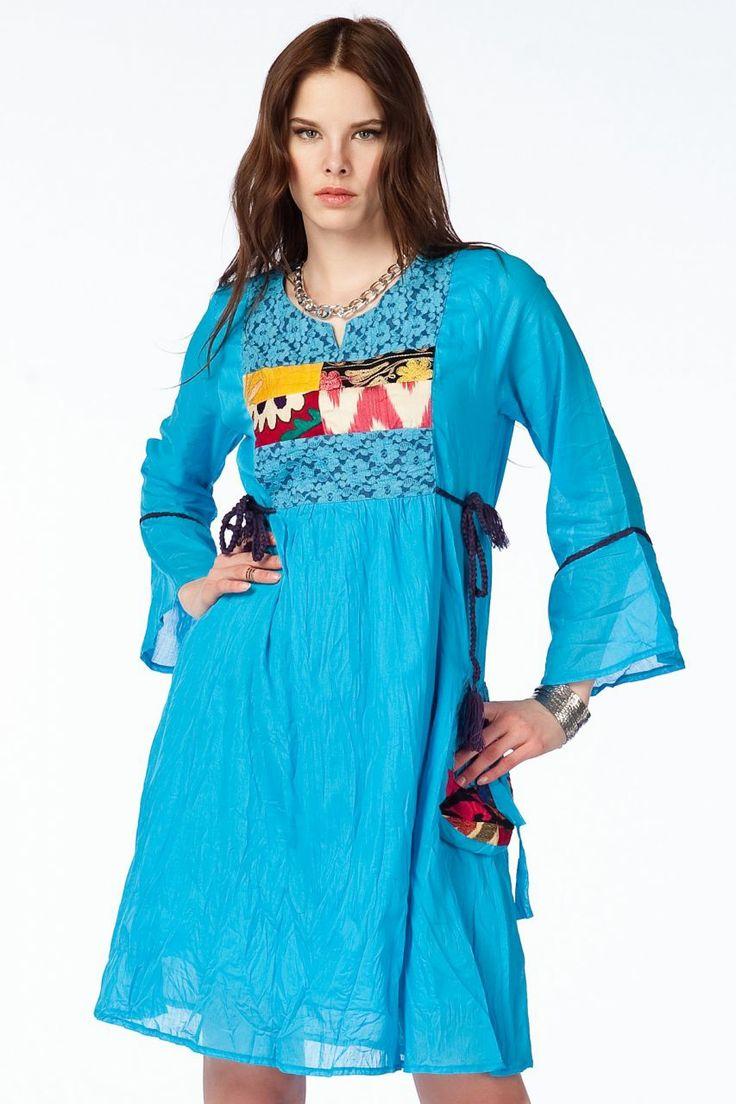 Otantik Köyceğiz Elbise - Turkuaz