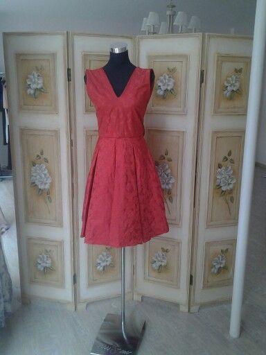 Red silk taffeta dress.