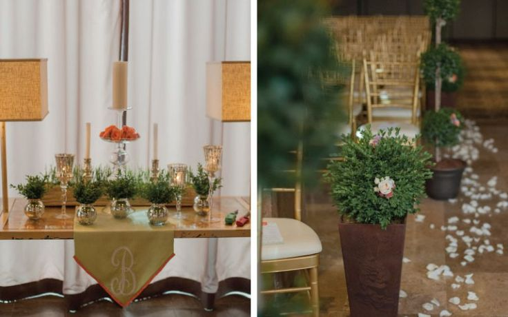 Two existing tables framed the altar in the social lobby and were decorated with votives of flexigrass, candles and coral roses. Petals, boxwood plants and topiaries lined the aisle.| Proximity Hotel Greensboro Dream Wedding