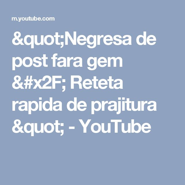 """""""Negresa de post fara gem / Reteta rapida de prajitura """" - YouTube"""