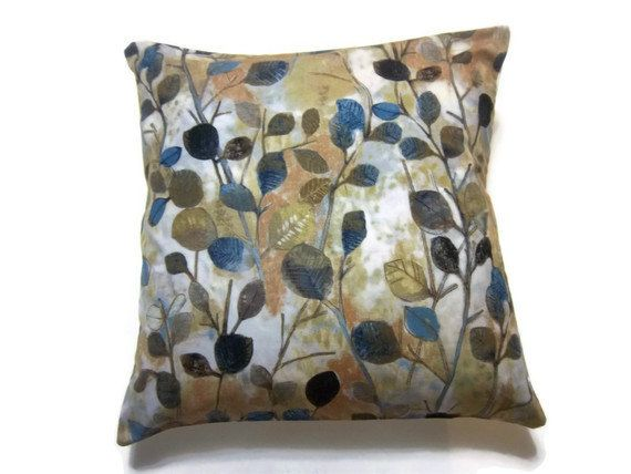 Two Midnight Blue Gold Navy Blue Brown Rust Pillow Covers Watercolor Leaves Design 18 inch Toss ...