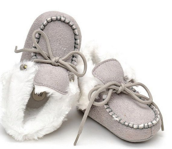 Baby Toddler Winter Boots Baby Booties Crib shoes Baby Moccasin Boots UGG style boots winter baby shoes warm baby boots Gray toddler boots