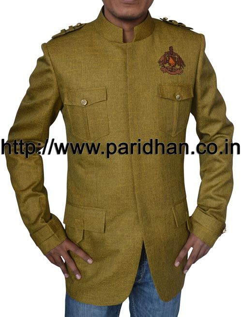 Designer nehru jacket made in green color jute fabric.