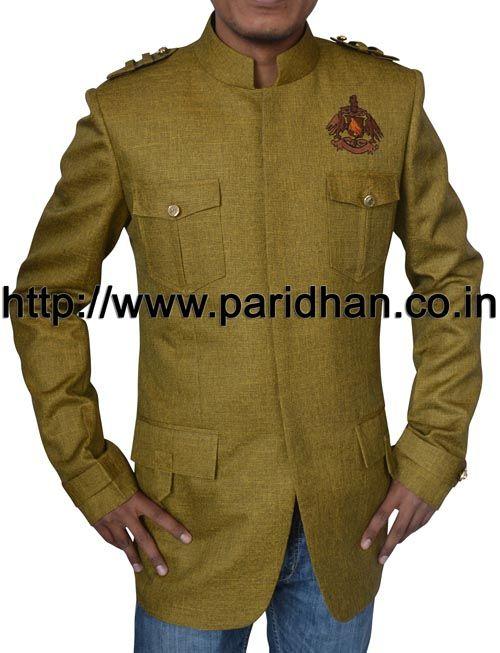 Designer nehru jacket made in green color jute fabric.
