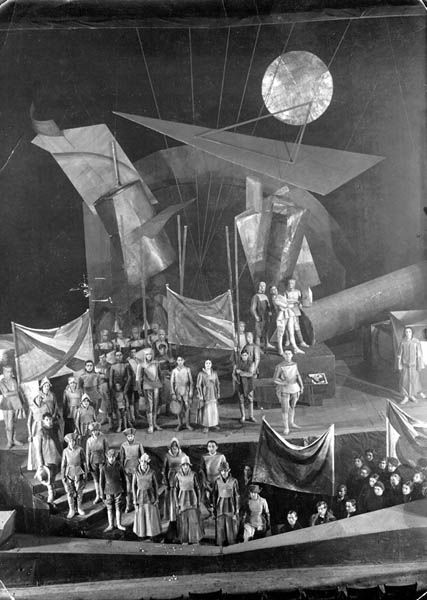 """A setting from Meyerhold's production of """"The Dawn"""", c.1920, Vladimir Dmitriev, set design, Meyerhold Theatre (RSFSR First Theatre), Moscow"""