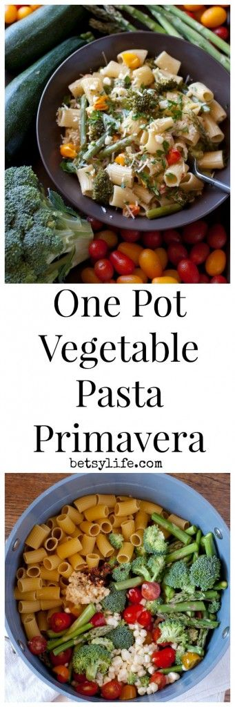 This One Pot Vegetable Pasta Primavera is an awesome, healthy, vegetarian dinner recipe that could not be more simple to make.