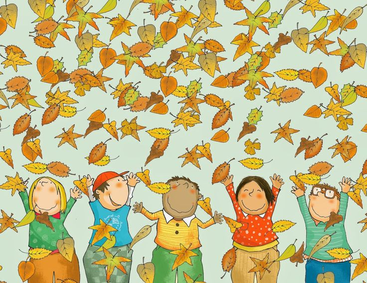 LUIS FILELLA ILUSTRACION (kids throwing leaves in air, do different faces though)