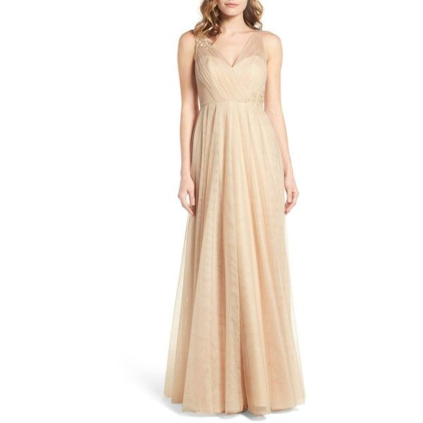 JENNY YOO Emelie Illusion Gown ($275) ❤ liked on Polyvore featuring dresses, gowns, beige evening gown, jenny yoo, beige evening dress, beige dress and jenny yoo dresses