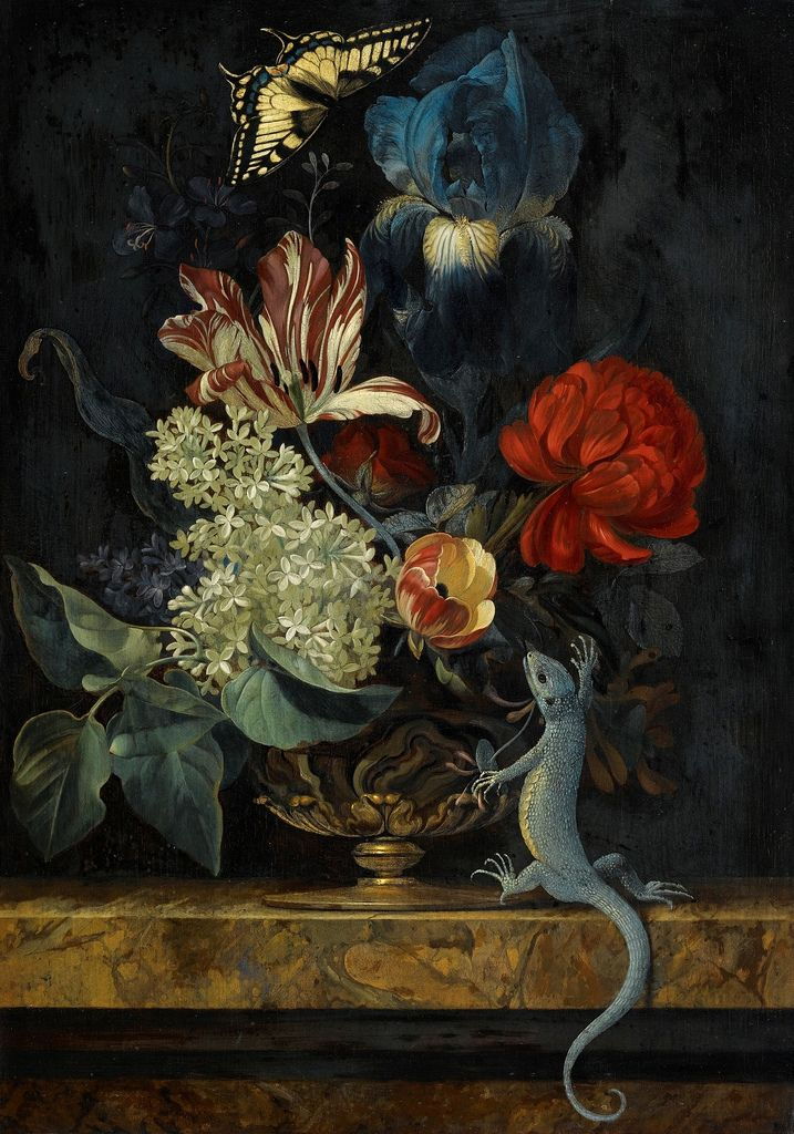 Willem van Aelst - A Still Life with Tulips and Other Flowers in a Vase