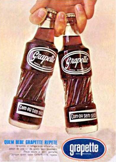 Propaganda do refrigerante Grapette nos anos 60. Bebida de sucesso sabor uva.