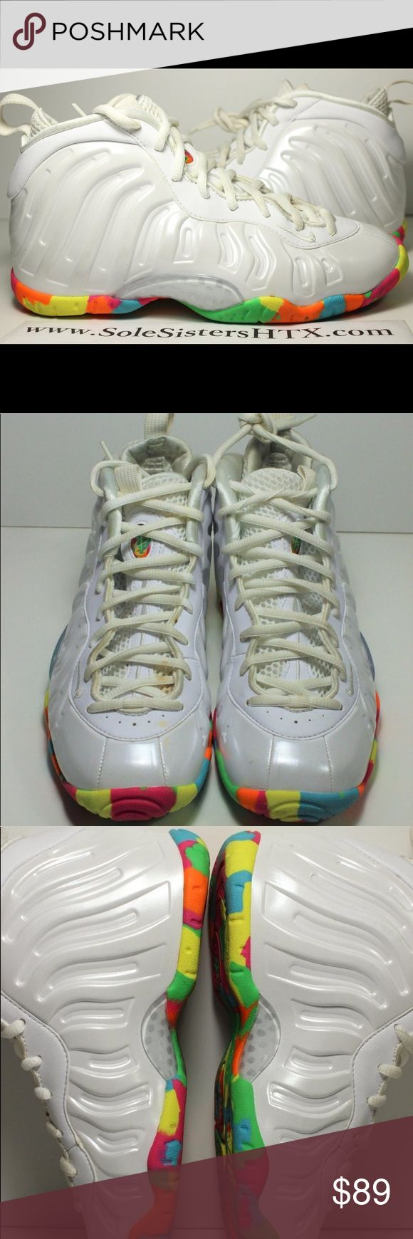 "Nike Air Little One Posite Fruity Pebble SZ 4Y 100% Authentic Nike Air Little One Posite ""Fruity Pebble""  SZ 4Y  USED  w/ OG BOX  (USED , MIGHT HAVE toe box creasing, dirt on the bottom/around the shoes, needs cleaning, scuffs around the shoes, stains around the shoes, etc) Nike Shoes Sneakers"