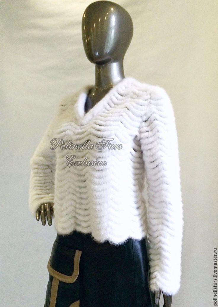 Купить Жакет из норки - легкий жакет, осенняя мода, осенняя одежда, белоснежный, верхняя одежда