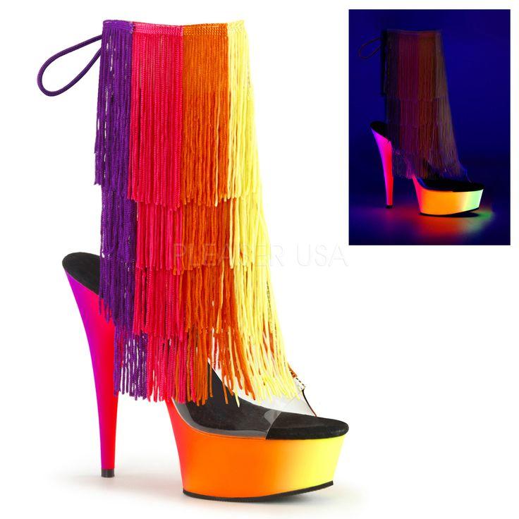 RAINBOW-1017TF-6-NMC | Купить открытые прозрачные полусапожки с четырёхцветной бахромой на голенище и цветовой растяжкой на платформе и каблуке, открытая пятка, открытый носок, силиконовый верх, удобная чёрная стелька, шнуровка, лиловый, розовый, оранжевый, жёлтый, стрипы единички, Pleaser