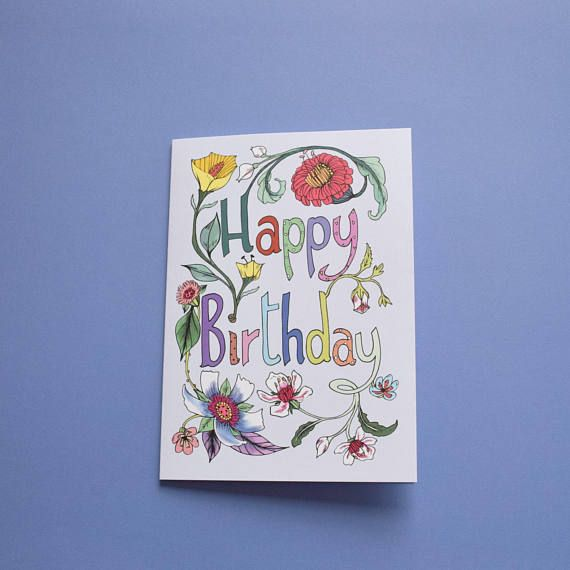 Colorful Birthday Card. Card for Her. Floral, Lavander