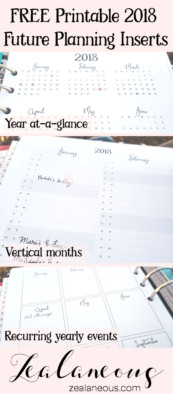 Free 2018 Future Planning Printable - Month on one page half letter/A5