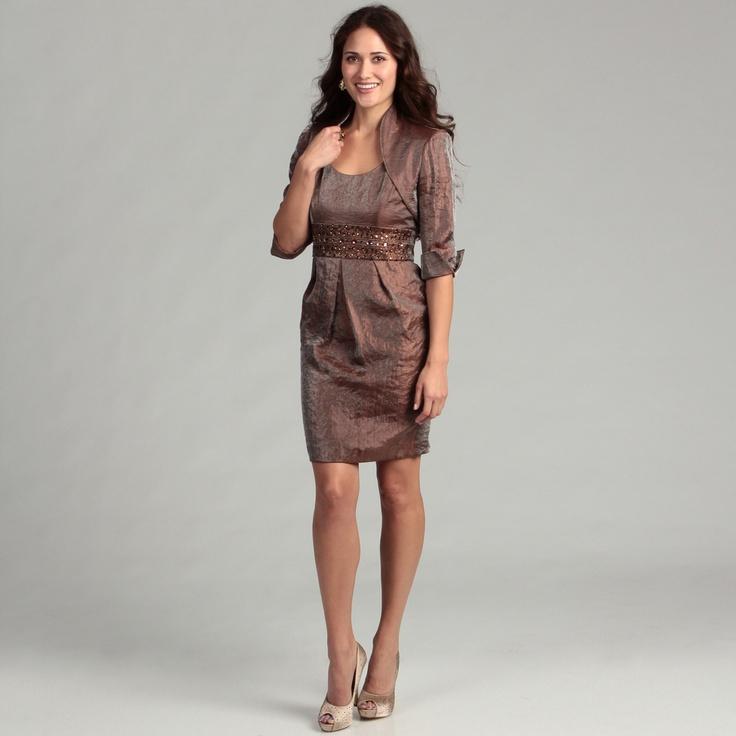 Jessica Howard Women's Almond Beaded 2-piece Dress | Overstock.com
