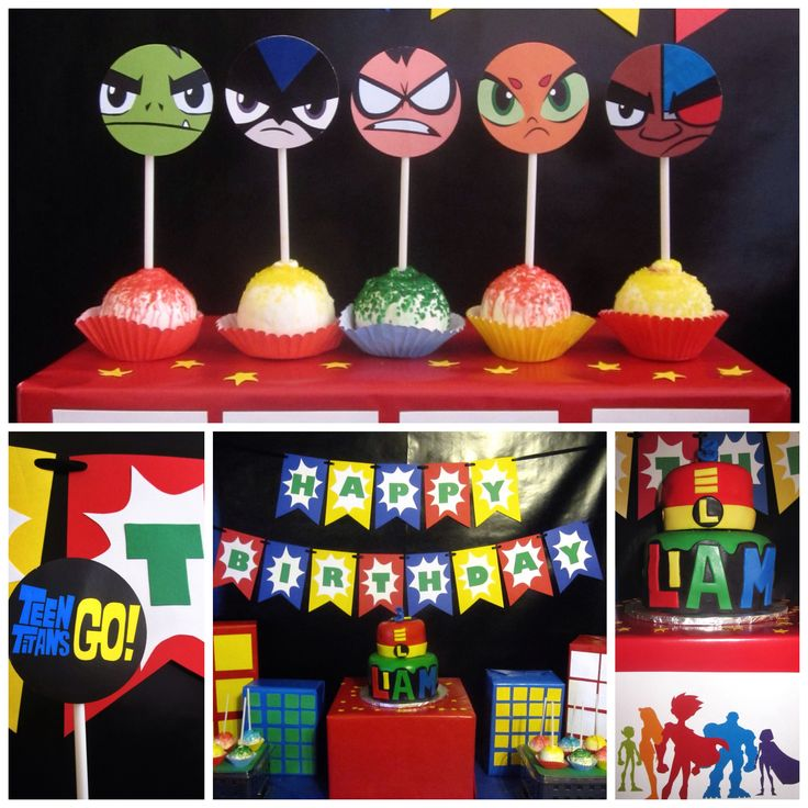 "After spending his birthday watching 4 soccer games for his older brothers, I surprised my youngest with a small Teen Titans Go dessert table.  Two tiered cake (4"" and 6"") was more than enough for the intimate family gathering.  ""L"" is not only for Liam, but for Larry his favorite character in the Teen Titans Go Series (it's a baby Robin like him)."