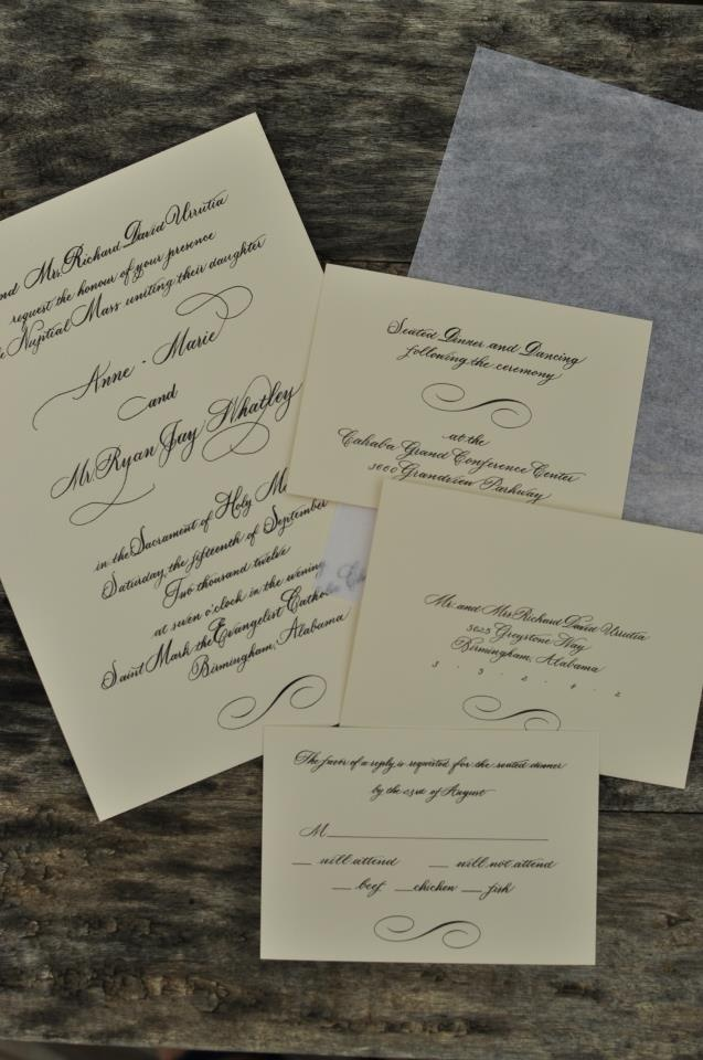 how to make film canister wedding invitations%0A wedding invitation in hand calligraphy by Deb Warnat